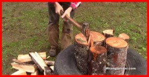 Splitting Wood In A Tire