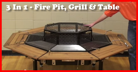 Lovely 3 In One Fire Pit Grill And Table