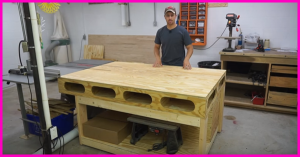 hom to build a table saw outfeed table with storage