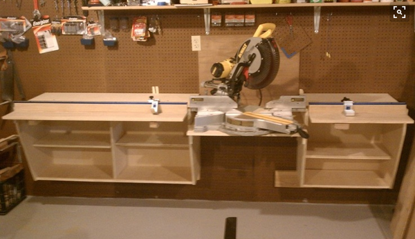 Wall hung miter saw bench